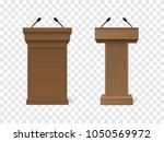 set of vector brown podium... | Shutterstock .eps vector #1050569972