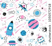 baby seamless pattern   space ... | Shutterstock .eps vector #1050572918