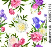 seamless pattern with peonies ... | Shutterstock .eps vector #1050575996