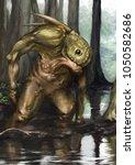 fantastic green creature in the ... | Shutterstock . vector #1050582686