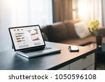 close up of laptop with graphs  ... | Shutterstock . vector #1050596108