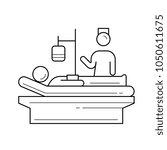 a patient lying in bed vector...   Shutterstock .eps vector #1050611675