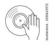 dj remix vector line icon... | Shutterstock .eps vector #1050615572