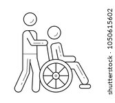 wheel chair with a disable... | Shutterstock .eps vector #1050615602