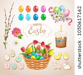 set of easter items. painted... | Shutterstock .eps vector #1050617162