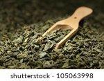tea leaves background  green... | Shutterstock . vector #105063998