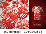 vector red tropical palm leaves ... | Shutterstock .eps vector #1050643685