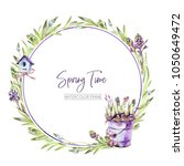 hand painted round frame with... | Shutterstock . vector #1050649472