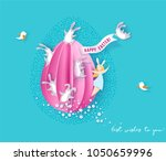 happy easter card with bunny ... | Shutterstock .eps vector #1050659996