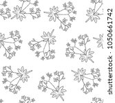 woodruff with flowers seamless... | Shutterstock .eps vector #1050661742