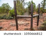 barbed wire rusted wooden fence ... | Shutterstock . vector #1050666812
