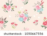 seamless pattern with flowers . ... | Shutterstock .eps vector #1050667556