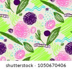 seamless pattern with abstract... | Shutterstock .eps vector #1050670406