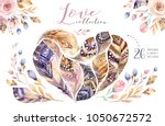 hand drawn watercolor paintings ... | Shutterstock . vector #1050672572