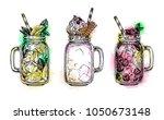 lemonades and milkshake in... | Shutterstock .eps vector #1050673148