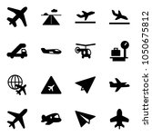 solid vector icon set   plane... | Shutterstock .eps vector #1050675812