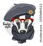 vector badger with red glasses  ... | Shutterstock .eps vector #1050684512