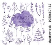 collection of floral elements ... | Shutterstock .eps vector #1050687452