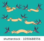 swallows carry ribbon. vintage... | Shutterstock .eps vector #1050688556