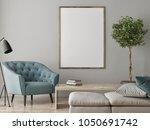 mock up poster  living room... | Shutterstock . vector #1050691742
