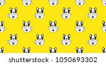 Stock vector dog seamless pattern french bulldog pug isolated cup paw puppy wallpaper background yellow 1050693302