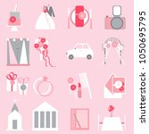 wedding icons on pink... | Shutterstock .eps vector #1050695795