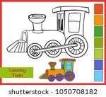 coloring funny cartoon steam... | Shutterstock .eps vector #1050708182