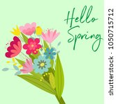 cute vector spring card with... | Shutterstock .eps vector #1050715712
