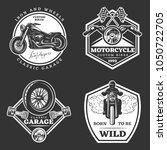 set of white motorcycle... | Shutterstock .eps vector #1050722705