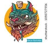 hand drawn crazy graffiti cat... | Shutterstock .eps vector #1050727556