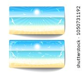 two banners of sand beach at... | Shutterstock .eps vector #1050731192