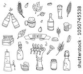 hand drawn doodle set of... | Shutterstock .eps vector #1050745538