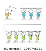 stickmen holding a banner with... | Shutterstock .eps vector #1050746192