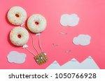 creative food minimalism  donut ... | Shutterstock . vector #1050766928