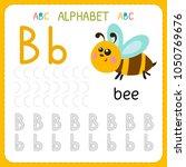 alphabet tracing worksheet for... | Shutterstock .eps vector #1050769676