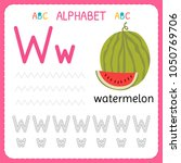 alphabet tracing worksheet for... | Shutterstock .eps vector #1050769706