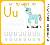 alphabet tracing worksheet for... | Shutterstock .eps vector #1050769712
