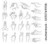 hand gestures contour vector set   Shutterstock .eps vector #1050769958