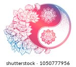 yin and yang symbol with lotus... | Shutterstock .eps vector #1050777956