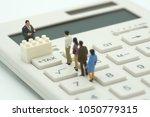 miniature people pay queue... | Shutterstock . vector #1050779315