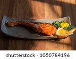 delicious  salmon grilled with... | Shutterstock . vector #1050784196