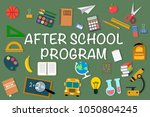 set of school items icons with... | Shutterstock .eps vector #1050804245
