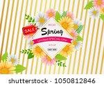 spring sale background banner... | Shutterstock .eps vector #1050812846