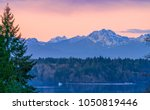 Small photo of Sunset Over Eld Inlet Looking Towards Olympic Mountains, Olympia Washington