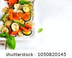baked vegetables with balsamic... | Shutterstock . vector #1050820145