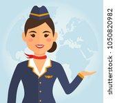 stewardess woman in uniform on...   Shutterstock .eps vector #1050820982