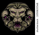 lion with skull tattoo... | Shutterstock .eps vector #1050835568