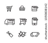 outline shopping icon  vector   Shutterstock .eps vector #1050838142