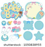banner templates for baby boy... | Shutterstock .eps vector #1050838955