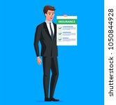 insurance claim form. man in... | Shutterstock .eps vector #1050844928